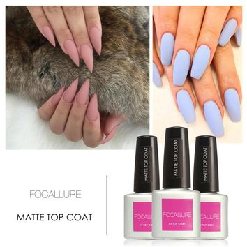 FOCALLURE Beauty 1Pcs 7.5ML Matte Varnish Matte Top Coat Nail Gel Polish Nail Art Top Coat Gel Polish Lacquer for Women