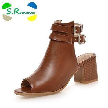 S.Romance Plus Size 34-43 New Fashion Women Sandals Gladiator Mid Squre Heel Casual Wo