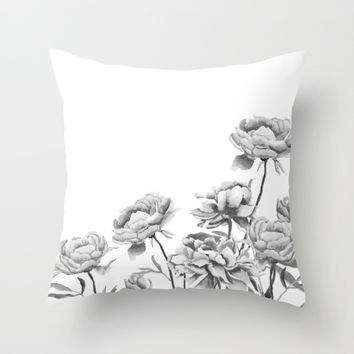 black and white peonies 2 Throw Pillow by Color And Color