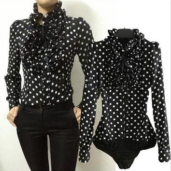 2018 Korea Vintage Office Lady Chiffon Blouse Bodysuit Causal Boho Polka Dots Body Blouse Tops Formal Stand Collar Ruffles Shirt