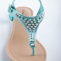 Rhinestone Studded T-Strap Sandal - Mint from Casual & Day at Lucky 21 Lucky 21
