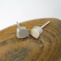 Silver Stud Earrings - Freeform Cubes