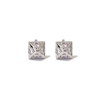Solid 14K Gold & Pavé Diamond XS Size Pyramid Tiny Spike Stud Earring (Perfect for Cartilage, Conch, Helix, Tragus Piercing)