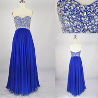 Beach Sweetheart Floorlength Chiffon Beading Blue by Simpledress