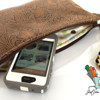 Brown Vegan Leather Clutch, Wristlet, Zippered Bag with Polka Dot Lining (Free US Shipping)