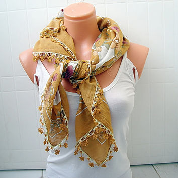 Mustard yemeni scarf, Suquare Floral scarf- fabric scarf gift for mothers day