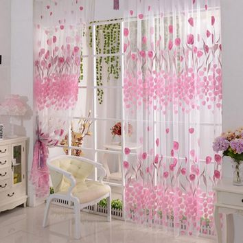 1pc 1M*2M Fantasy Pink Tulip Floral Pattern Voile Curtains Tulle Window Curtain for Living Room Bedroom Home Decoration