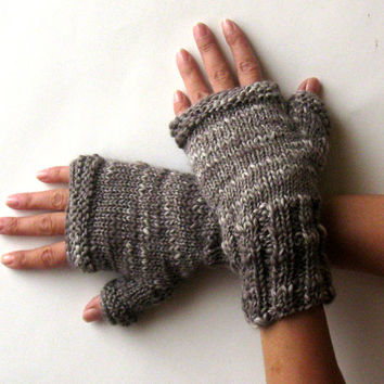 Oversized Fingerless Gloves Girls Women Arm Warmers Earth Gray Multicolor Fingerless Mittens Chunky Hand Warmers Wool Knit Gloves - KG0076