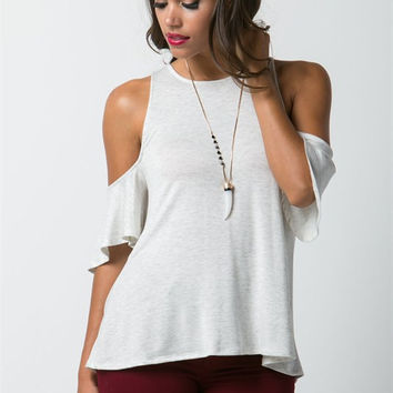 Cold Shoulder French Terry Top - Light Grey