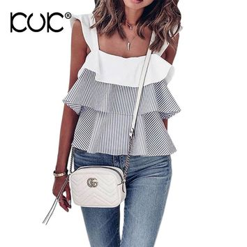 Kuk Boho Top Chic Hippie Blouse Women 2017 Beach Tunic Ruffle Summer Tops Camisas Femininas Blusas Striped Ladies Shirt  A481