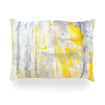 "CarolLynn Tice ""Abstraction"" Grey Yellow Oblong Pillow"