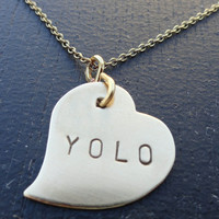 "YOLO Brass Heart Necklace- ""You Only Live Once"""