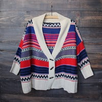 final sale - oversize knit tribal cardigan sweater
