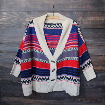 oversize knit tribal cardigan sweater