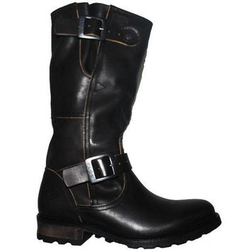 Pldm Urban   Black Leather Tall Dual Buckle Engineer Boot