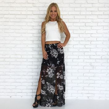 All Filled Up Floral Maxi Skirt in Black