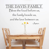 Kitchen Decals - Bless The Food Before Us Wall Decal - by Decor Designs Decals, Kitchen Vinyl Decal - Bless Our Family Decal - Kitchen Quotes - Vinyl Quote - PP29