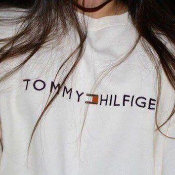 DCCKW2M Tommy Hilfiger Fashion Casual Long Sleeve Sport Top Sweater Pullover Sweatshirt