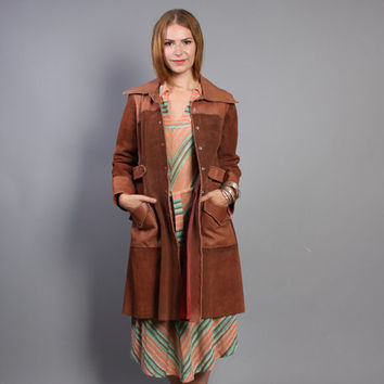 70s CHAR Designer LEATHER JACKET / 2-Tone Mocha Brown Trench Coat, xs-s