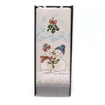 Christmas SNOWMEN UNDER MISTLETOE Wax Love Kissing Hugging D18010