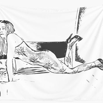 'Vector art, dirty girl posing in fishnets bodystocking' Wall Tapestry by casemiroarts