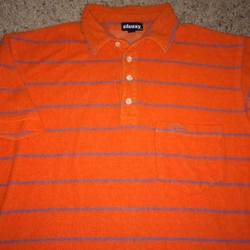Sale!! Vintage STUSSY orange Polo Shirt retro street wear tee Made in USA