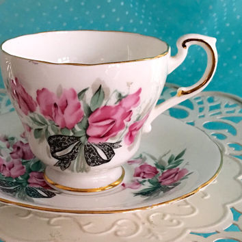 Vintage Rosylyn Tea Cup, 1950's Tea Cups, Cup and Saucer, Pink China Tea Cup Set,Mid Century