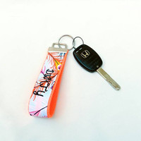 MATURE NSFW Peacock Feather Key Wristlet & Coral Webbing Dirty Bitch Cursing Lanyard Key Fob Swearing Chain Profane Adult Rude Wristlet