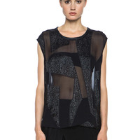 Eros Fil Coupe Round Neck Blouse in Black
