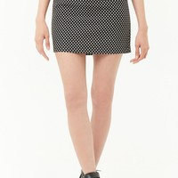 Belted Polka Dot Mini Skirt