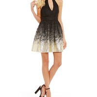 B. Darlin Lace Foil Dipped Fit-And-Flare Dress | Dillards