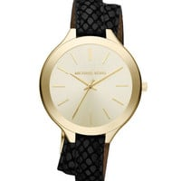 Michael Kors Slim Embossed-Leather Brass Runway Watch