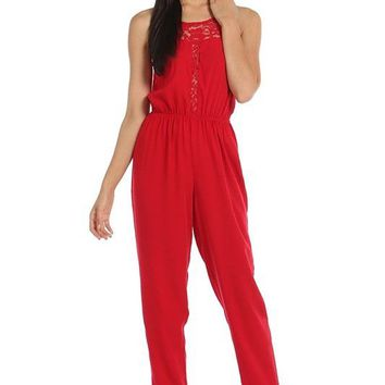 Solid Lace Trimmed Keyhole Back Sexy Sleeveless Woven Slim Jumpsuit Romper