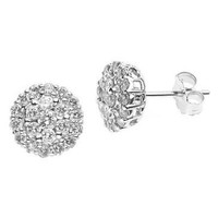 1 Carat Diamond Cluster Studs Earrings 14k White Gold