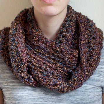 Brown Infinity Scarf, Cowl Scarf Infinity, Crochet Circle Scarf, Infinity Cowl Scarf, Loop Scarf, Crochet Cowl, Brown Scarf Infinity