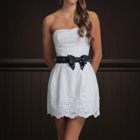 ♥ New NWT Hollister by Abercrombie White Bow Dress Size Large L