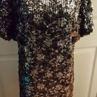 R&M RICHARDS Black Sequins formal Cocktail dress S Small EUC
