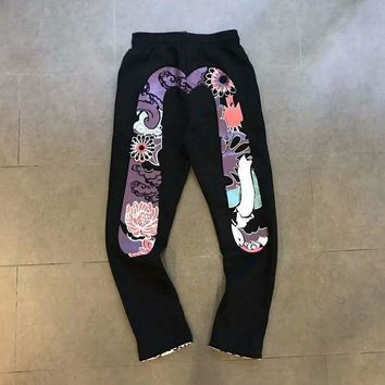 VONEB7T Evisu Men Fashion Print Sport Stretch Pants Trousers Sweatpants G-A-HRWM