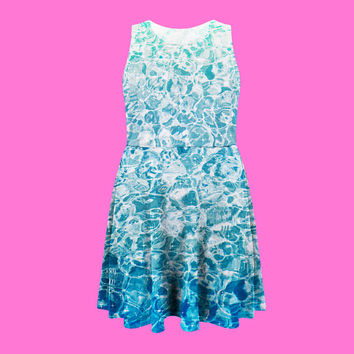 sparkling water dress | sparkle water skater dress plus size kawaii net punk grunge pastel 90s ocean seapunk 2XL 3XL 4XL 5XL