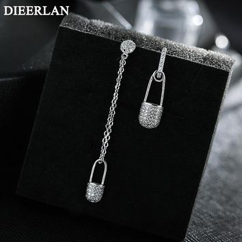 925 Sterling Silver Long Asymmetrical Pin Earrings For Women Hot Fashion sterling-silver-jewelry brinco brincos bijoux