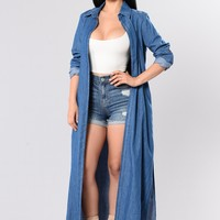Dangerous Gal Duster Jacket - Medium Wash