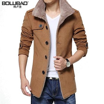 Bolubao New Mens Winter Coat Fashion Wool Blend Casual Fleece Lined Warm Men Jacket Male Overcoat