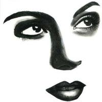 woman eyes looking up black lips face original art black pencil drawing portrait modern beauty makeup artwork