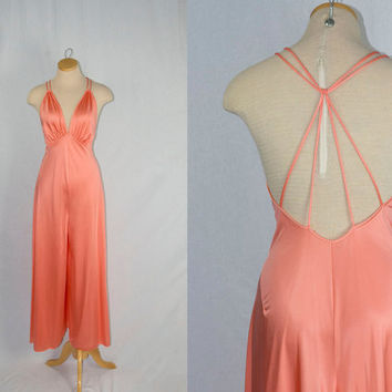Vintage 70s Slinky Halter Jumpsuit Palazzo Pants Nightgown Tangerine Temptress!