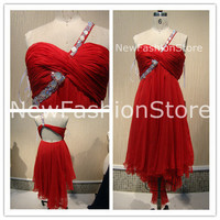 A Line One Shoulder Beading Short Prom Party Dress