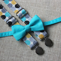 Teal Blue Bow Tie and Teal Blue, Mustard, Gray and Black Dot  Suspenders set  ( Men, boys, baby, toddler, infant )
