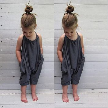 Baby Girl Summer Overalls Toddler Kids Baby Girls Strap Rompers Jumpsuit Harem Pants Trousers