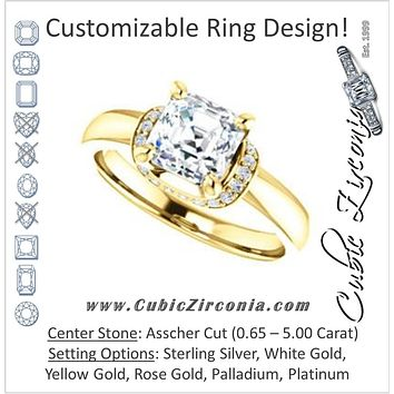 Cubic Zirconia Engagement Ring- The Jennifer Elena (Customizable Asscher Cut featuring Saddle-shaped Under Halo)