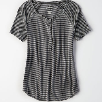 AE Soft & Sexy Henley Snap Front T-Shirt, Black