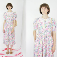 vtg 80s pastel floral midi dress peter pan collar twee dress doll dress prairie dress lanz originals lace collar button back medium large